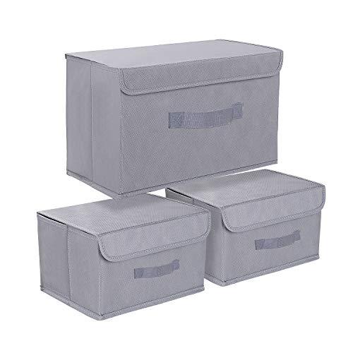 DIMJ Cajas almacenaje , Paquete de 3 Cajas Organizadoras de Tela , Grandes Cubos de Almacenamiento para Juguetes, Libros, Armario, Dormitorio, Hogar (Gris)