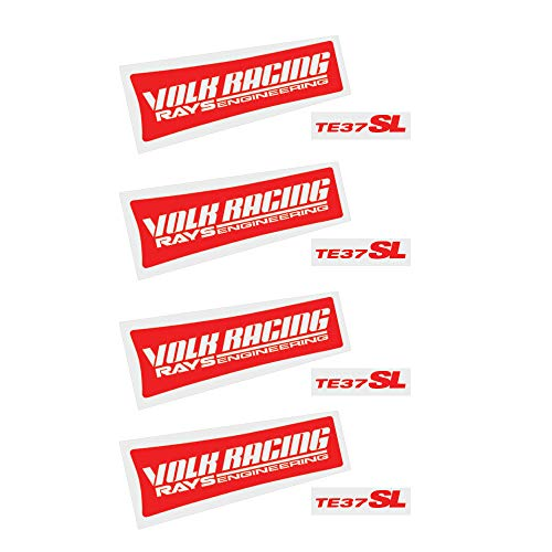 ReplaceMyParts TE37SL Decal Kit Set Vinyl Stickers Lettering No Background Replacement Sticker Racing Car Sticker Emblem Logo for JDM TE37 Volk Racing Rays Wheels Rims (4 Pieces), Red