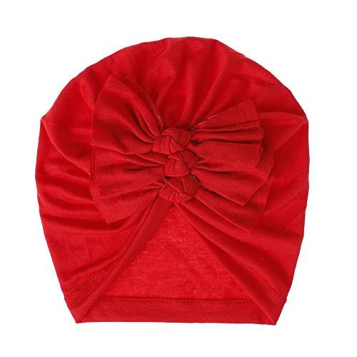 Carolilly Sombrero para Bebé Niña Recién Nacido Gorro Suave de Mezcla de Algodón Turbante Diadema de Capucha Infantil Lindo con Lazo de Princesa (Rojo, 18 * 16cm)