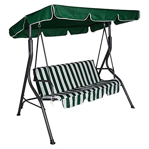 Dmora Dondolo da Giardino 3 posti con tettuccio e Cuscino, Colore Verde e Bianco, cm 180 x 110 x h165