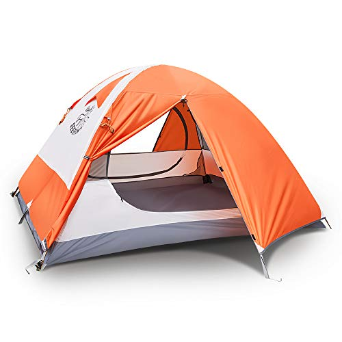 DEERFAMY 3 4 Person Tent, Waterproof Tents for Camping, Ultralight Backpacking Tent with Aluminum Poles and Expandable Storage Bag, Blue/Orange