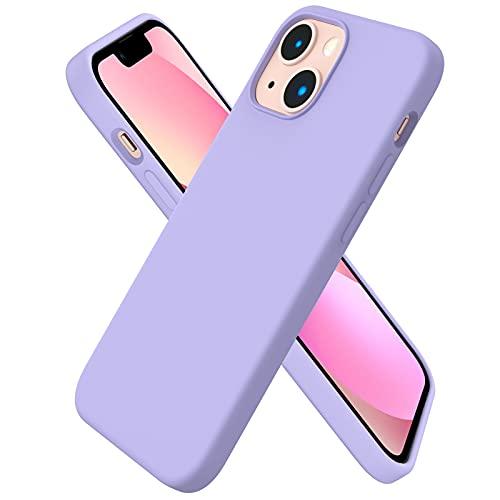 ORNARTO kompatibel mit iPhone 13 Mini 5,4 Silikon Hülle, Hülle Ultra Dünne Voller Schutz Flüssig Silikon Handyhülle Schutz für iPhone 13 Mini(2021) 5,4 Zoll, Licht Lila