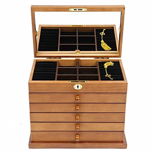 Joyero de 6 capas con cajón, espejo, de madera, para mujer, tallado, color marrón para anillos, pendientes