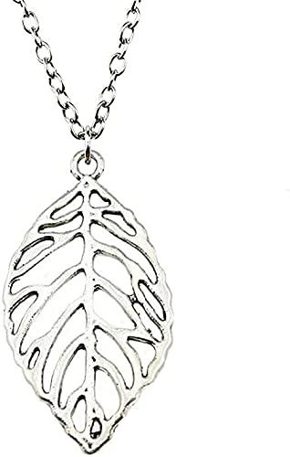 YOUZYHG co.,ltd Halskette Antik Bronze Antik Silber Farbe 49x26mm Blatt Anhänger Halskette Für Frauen Schmuck Geschenk Dropshipping