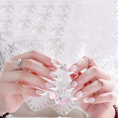 CSCH Faux ongles 24 pièces mode long faux ongles conseils couverture complète ovale rose dégradé cerise Style fleur décoration pour femme à la mode fille jolie
