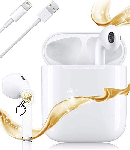 i12 Auriculares Bluetooth 5.0,Auriculares inalámbricos Sonido estéreo 3D Control táctil Pop-Up Emparejamiento automático Auriculares,Auriculares inalámbricos para Apple/Airpods/Android/iPhone -Blanco