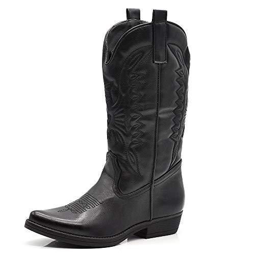 IF Fashion Cowboy Western Scarpe da Donna Stivali Stivaletti Punta Camperos Texani Etnici HQ5005 Nero N.36