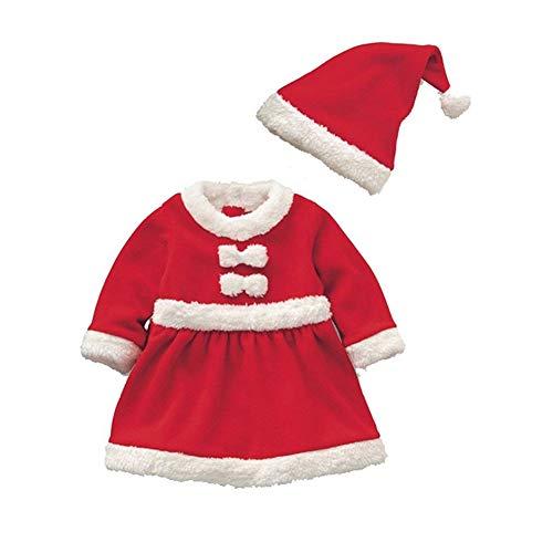 Cosanter Pijamas y Algodón Conjunto de Navidad Forrado con Durmiente Disfraz Bebé Niño Papá Noel Invierno Rojo Niña (S)