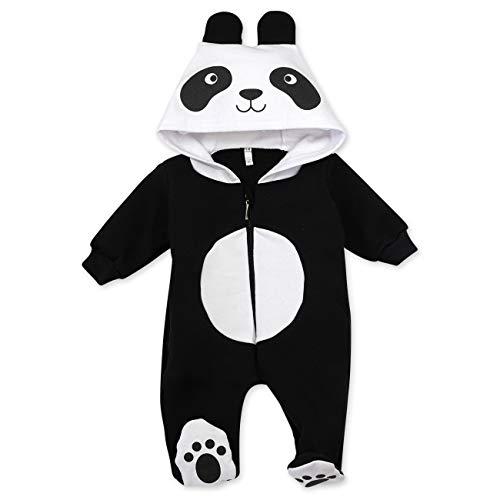 Baby Sweets Baby Tier Strampler Unisex schwarz im Motiv: Panda/Baby-Overall als Tierstrampler mit Kapuze für Neugeborene & Kleinkinder in der Größe 3-6 Monate (68)