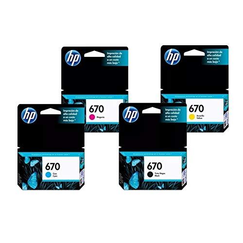 HP Combo Pack Kit de Cartuchos De Tinta 670 Advantage Color Negro/Cian/Magenta/Amarillo - Orignal -...
