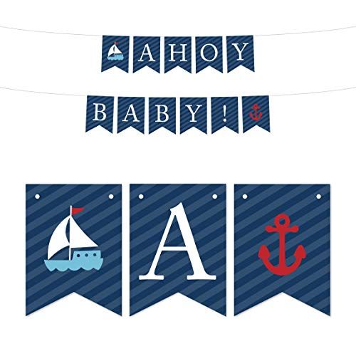 Andaz Press Nautical Baby Shower Collection, Hanging Pennant Party Banner, Ahoy Baby!, 5-Feet, 1-Set, Decor Paper Decorations