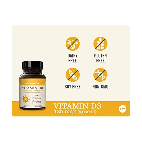 Health Shopping NatureWise Vitamin D3 5000iu (125 mcg) Gluten Free in Cold-Pressed Organic Olive