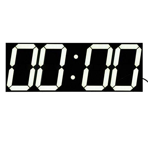 Bestland Große LED Uhr Digitale Wanduhr Fernbedienung Jumbo großen Zahlen 3D Entwurf Wecker mit Thermometer, Kalender, Snooze, Alarm, Countdown, Stunden/Minuten - Weiß LED Anzeige