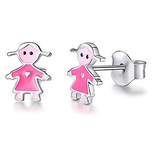 2021 Joyería de moda Perno prisionero de Navidad Animal Mariquita Trébol Corazón Plata de ley 925 Pequeño para mujeres Niños Niñas-YE3181