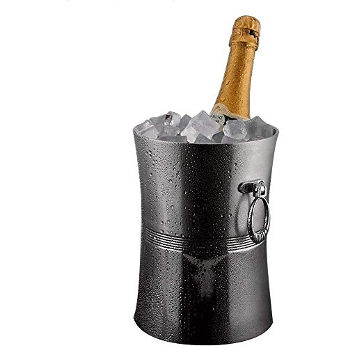 yunyu Cubo de Hielo para el hogar/Bar Estilo Vintage Cubo de Hielo de Acero Inoxidable Vino Botella de champán Enfriador Acabado de Espejo Anillos Acanalados (Tamaño: Pequeño)
