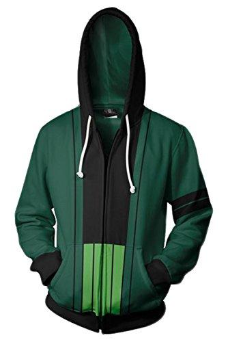 UU-Style One Piece Roronoa Zoro Cosplay Costume Jolly Rogers Hoodies Sweater Unisex (XX-Large, Green)