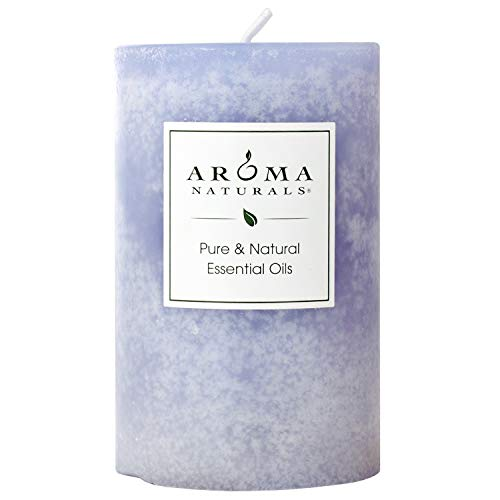 Aroma Naturals Essential Oil Tranquility Pillar Candle, 2.5' x 4', Lavender, 11 Ounce