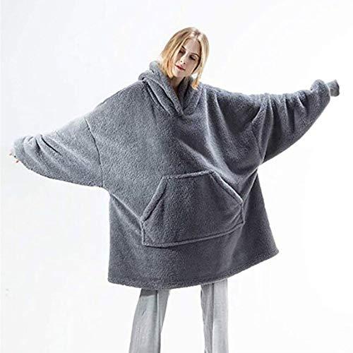"""SHYPT Neue Decke mit Ã""""rmeln Outdoor Mit Kapuze Taschendecken Warme Weiche Hoodie Slant Robe Bademantel Sweatshirt Pullover (Color : A)"""