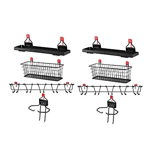 "Rubbermaid Shed Shelf, Wire Basket, 34"" Tool Rack, & Power Tool Holder (2 Each)"