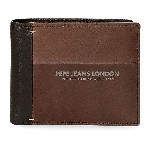 Pepe Jeans Cutted Brieftasche mit Kartenetui Braun 11x8,5x1 cms Leder