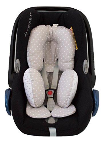 Borda y más Reductor Reversible Universal bebé Grupo 0, maxicosi, Silla Coche (Estrellas Gris)