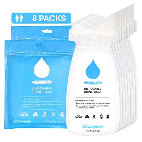 BITSOGOOM Disposable Urine Bags Portable Urinal Pee Bags (8-Pack) for Emergency, Travel, Camping, Driving, Traffic Jam, Hiking - for Men, Women, Children