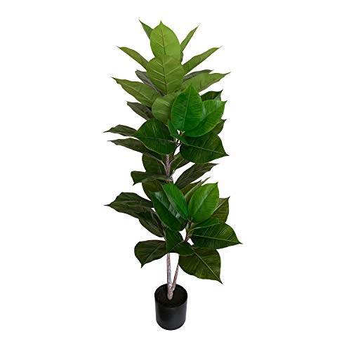 BESAMENATURE Artificial Rubber Tree Plant Faux Ficus Tree Used for Home Decoration, 49' Tall, Green
