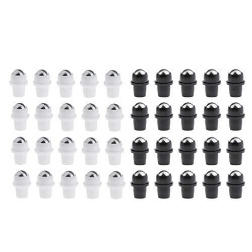 Milageto 40x Insertos de Bolas de Rodillo de Aceite Esencial de Metal para Rollo de Vidrio en Botellas de 0.4 ''