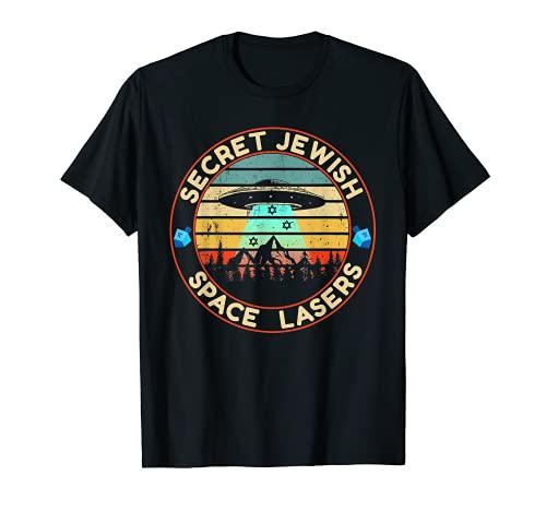 Jewish Space Laser Secret UFO Universe Vintage Dreidel Stars T-Shirt