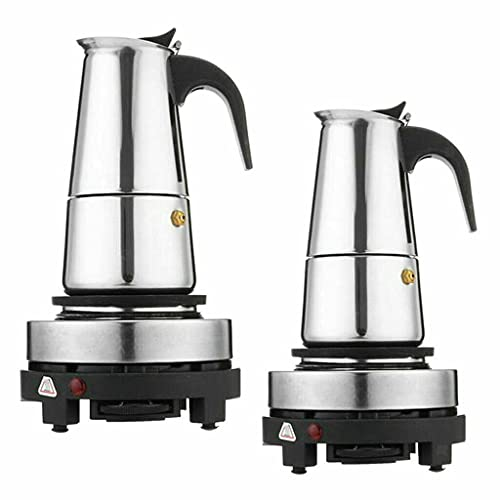 Cafetera eléctrica de espresso, de acero inoxidable, con cocina eléctrica de 4, 6 tazas, 200-300 ml (200 ml, 4 tazas)