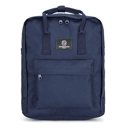 SEVENTEEN LONDON – Moderner, einfacher und Unisex 'Dalston' Rucksack in Marineblau mit einem klassischen Schultaschendesign im Skandi-Stil – perfekt für 13-Zoll-Laptops