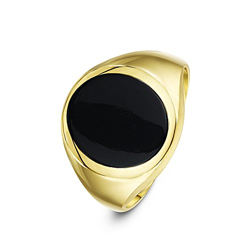 Theia Men's 9 ct Yellow Gold Oval Shape Black Onyx Stone Signet Ring with 14 x 12 mm, Size N