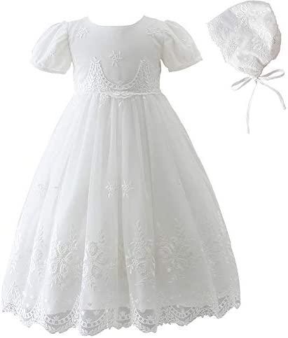 Silver Mermaid Baby Girls Special Occasions Dress Floral Embroidered Gown with Bonnet 18M Ivory product image