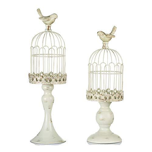 Semoic 2 Candelabros de Linterna de Jaula de PáJaro Vintage (para Vela de Pilar) para DecoracióN de Chimenea de Boda de Mesa, Blanco