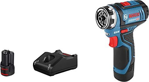 Bosch Professional 12V System atornillador a batería GSR 12V-15 FC (incluye 2 baterías de 2,0 Ah, cargador rápido GAL 12V-40, en caja) - FlexiClick System