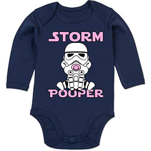 Sprüche Baby - Storm Pooper Mädchen - 12/18 Monate - Navy Blau - stormpooper Strampler Baby - BZ30 - Baby Body Langarm