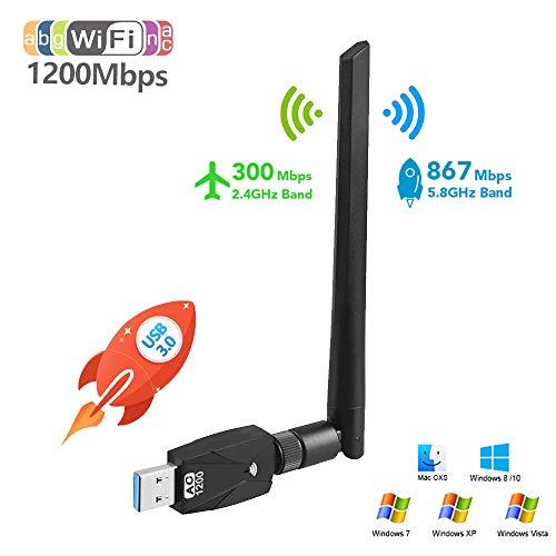 JanTeelGO WiFi Adapter, 1200Mbit/s mit 5dBi Antenna, Dualband (5G/866Mbps + 2.4G/300Mbps) WLAN Stick, USB 3.0 WiFi Dongle für Windows/Mac OS/Desktop/Laptop (Externe Antenne)