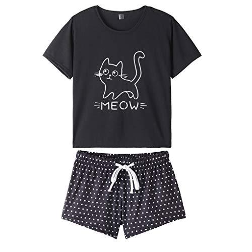 MyFav Damen Pyjamas Schlafanzug Bequem Stilvoll Katze Cartoon gedruckt Nachtwäsche, Schwarz, Large
