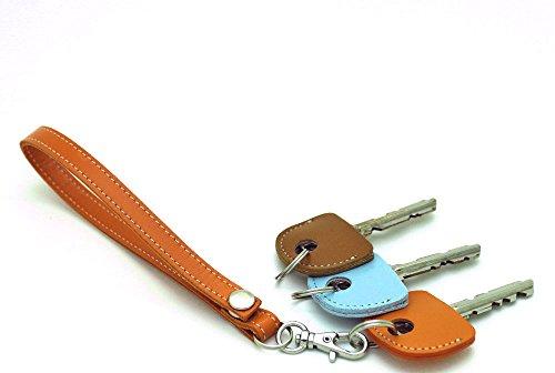 HERBE レザー ストラップ オレンジ  1個 ・ キーカバー 3個 セット 牛革  ハンドストラップ キーキャップ 鍵の識別 鍵の番号 NO. 隠しに