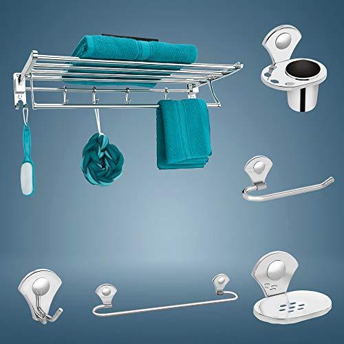 Plantex Stainless Steel PR-101 Folding Towel Rack with Royal Bathroom Accessories Set of 5pcs (Towel Rod/Napkin Ring/Tumbler Holder/Soap Dish/Robe Hook)