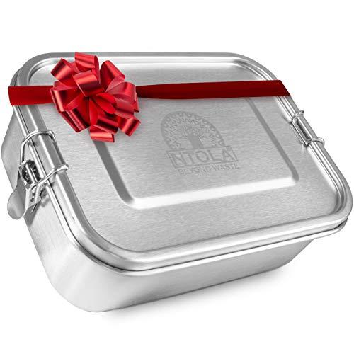 NTOLA Brotdose Edelstahl Kinder | 1200ml Lunchbox aus Metall | auslaufsicher & klimaneutral | Brotbox Set mit Trennwand & Ersatzdichtung | Vesperdose für Kindergarten, Schule & die Arbeit
