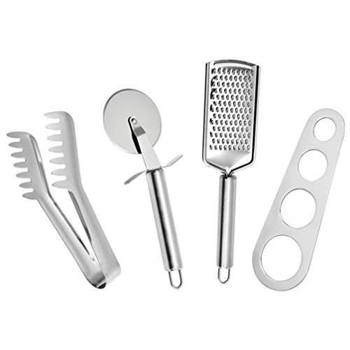 Cabilock Stainless Steel Pizza Tools Set Pizza Cutter Wheel Cheese Grater Food Tongs Kitchen Gadget Set 4pcs