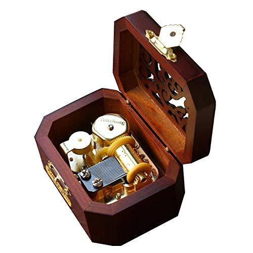 Youtang Boîte à musique 18 notes en bois avec couvercle creux Motif La Reine des neiges Mouvement doré