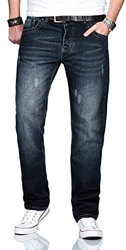 A. Salvarini Designer Herren Jeans Hose Basic Jeanshose gerades Bein Comfort Fit [AS-210-Dunkelblau-W30-L32]