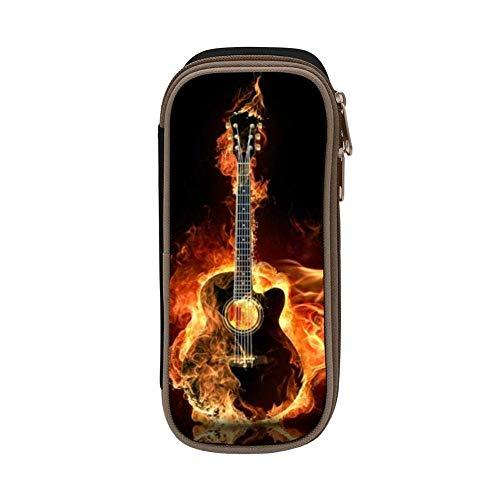 Estuche de lápices suave de gran capacidad para guitarra de fuego para niños con cremallera para niños y niñas BAG-202 negro