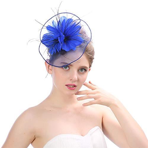 Baoblaze Hair Clip Fascinators Flower Hat on a Headband Tea Party Headwear for Girls and Women