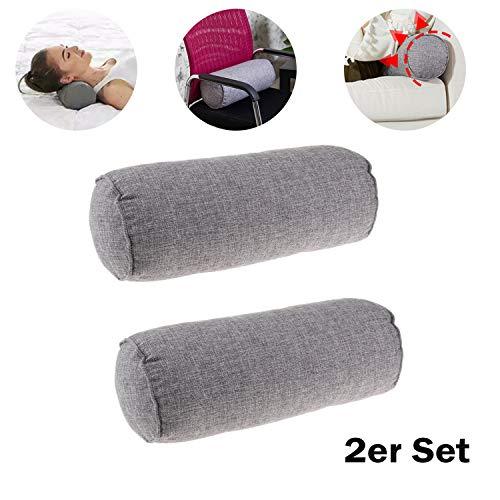 FLAMEER Nackenrolle mit Bezug Grau 2er Set Komfort Orthopädischer Schlafwirbelsäule Lendenkissen