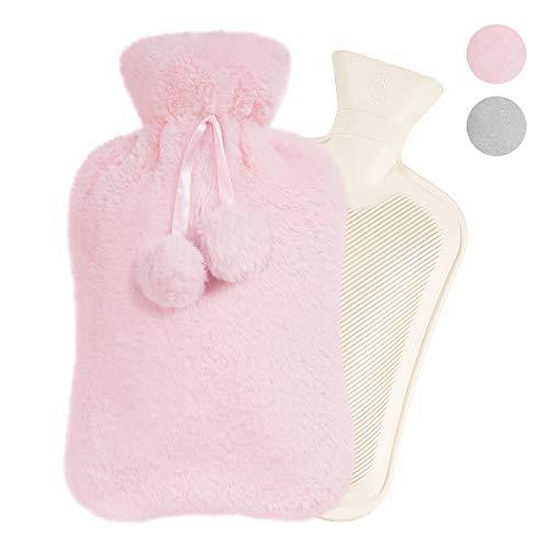Easycosy Wärmflasche mit Bezug Flauschig 2 Liter Warmwasser Tasche Groß Bettflasche Plüsch Kuschel für Nacken Schulter Bauch Wärme Komfort Weihnachten Geschenk für Freundin Mutter Vater Rosa 33x 20cm