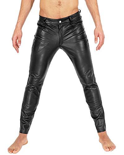 Bockle® Tube Aniline Zip Leder Jeans Lederhose Herren Tube Röhre Skinny Slim Fit Herren, Size: W32/L34