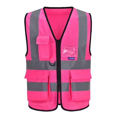 Mehrere Taschen,Mehrere Farben, Unisex hochsichtbare Warnweste Hohe Sichtbarkeit Warnweste Reflektierende Weste Reißverschluss Sicherheitswesten EN ISO 20471 (L, Pink)